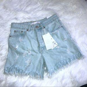 NWT Zara T R F Denim Wear Shorts-4